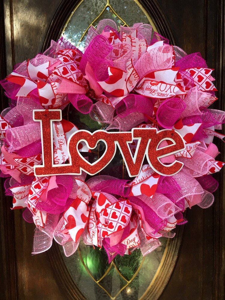 valentines day wreath valentines day deco mesh wreath valentines front door heart wreath love wreath red and white mesh wreath