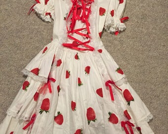 Womans strawberry lolita dress