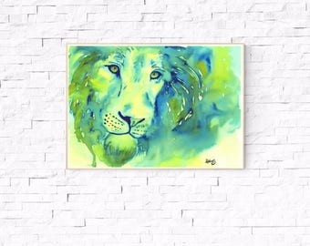 LION ART PRINT - lion print, lion watercolor painting, lion, gift
