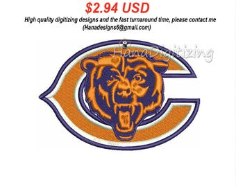Chicago Bears Logo Machine Embroidery Design 3 Sizes