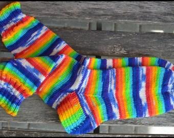 "Handknitted socks women size UK 5,5-6,5 US 7,5-8,5 ""Rainbow clouds"""