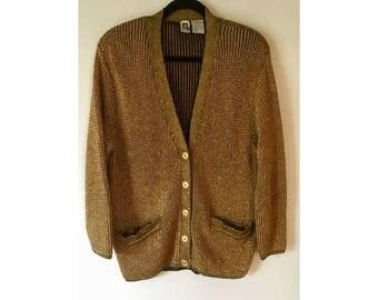 Metallic Gold Sweater/ Gold Cardigan/ Oversized Sweater