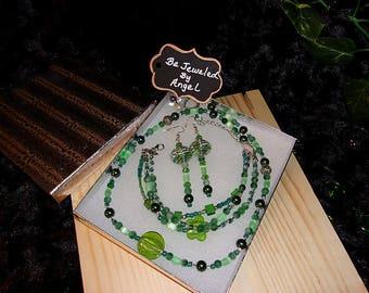 Luck O' The Irish Jewelry Gift Set, Women's Jewelry Set, Gift Set,Jade, Beaded Necklace, Bracelet and Earrings, Handmade, Green, Cats Eye