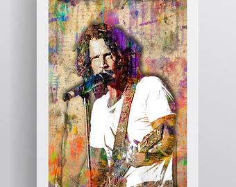 Chris Cornell Memorial Poster, Chris Cornell 1964-2017 Memorial Artwork, Chris Cornell Layered Tribute Fine Art