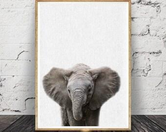 Impression d'éléphant, bébé chambre de bébé animaux muraux, Safari Decor africain, cadeau Baby Shower affiche, moderne minimaliste