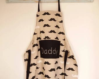 Moustache / handlebar print apron on linen look fabric. Toddler to adult. Can be personalised.