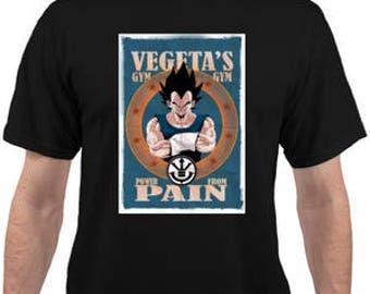 Adult Unisex Dragon Ball Z Vegeta's Gym Black T-shirt.