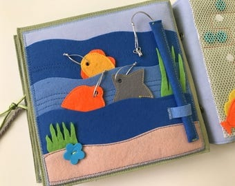 Quiet book PAGE, busy book, fishing sensory toy for kids