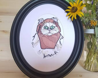 Persian Cat Art/ Cat Art/ Ewok Cat/ Ewok Art/ Ewok Cat Art/ Green Eyed Cat/ Original Cat Illustration/ Cats in Costumes/ Cats in Cosplay Art