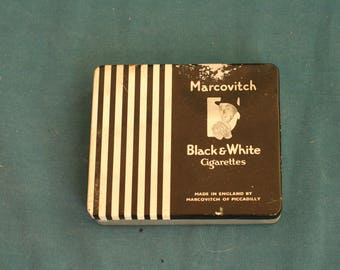marcovitch black and white cigarettes tin box made in England