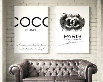 Set of 2 Coco Chanel posters. Coco Chanel logo, Coco Chanel quote. Wall art, fashion set prints, Chanel watercolor prints. Free shipping.
