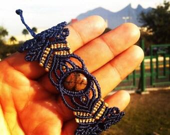 Macrame Stone Cross Bracelet