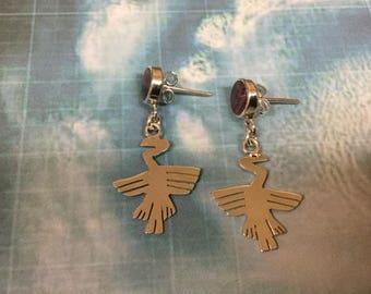 Nazca Silver Earrings, Nazca Condor Earrings, Sterling Silver Nazca Lines Earrings, 950 Sterling Silver Nazca Earrings