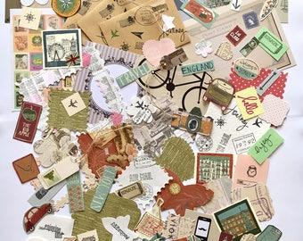 Travel scrapbooking set, travel junk journal set, travel card making embellishments