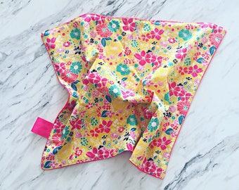 Floral Lovey Blanket | Floral Baby Blanket | Girl Baby Blanket | Cuddle Blanket | Security Blanket | Doll Blanket | Floral Minky Blanket |
