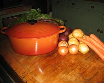 A Large Vintage French Le Creuset 31 cm Oval Cast Iron Casserole / Dutch Oven / Burnt Orange / Russet ~ 1960,s