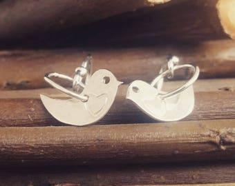 Sterling silver birds and hoop drop earrings