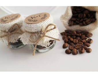 5 COFFEE JARS FAVOURS/Wedding favoirs / 5 jars/Rustic/Shabby chic/Vintage