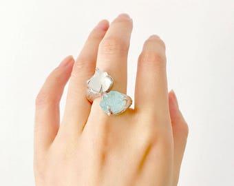 Ocean Gemstone Ring - White Topaz, Aquamarine, High Quality Rhodium. Statement ring. Handmade.