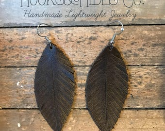 Rustic Brown Feathers | leather feather earrings, brown earrings, brown leather earrings, leather earrings, brown feathers, brown