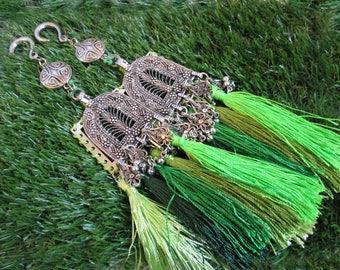 Bohemian ear weights-gypsy ear weights-tassel ear weights-ear hangers-green ear weights