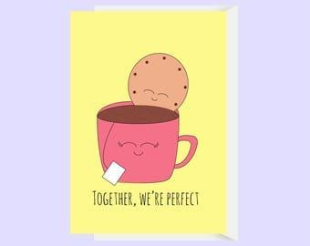 Cute Tea and Biscuit Love Card / Cute Anniversary Card / Funny Anniversary / Funny Love Card / Boyfriend Card / Girlfriend Card / Husband