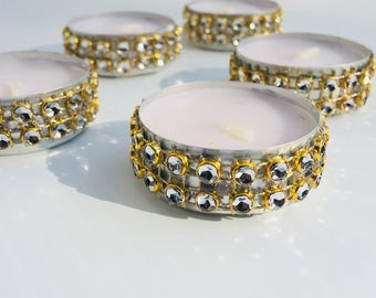 10 Rhinestone Tealight Candles / Party Decorations / Centerpieces / Votive Candle / Rhinestone / Tealight Candles / Holiday Decoration