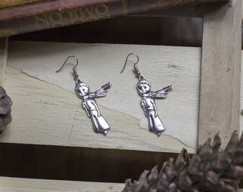 "cute pair of earrings ""little prince"" childhood - prince - saint Exupéry - romantic - classic"