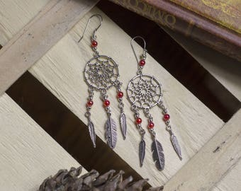 "cute pair of earrings ""dreamcatcher"", dream, trendy, Bohemian, boho, romantic"