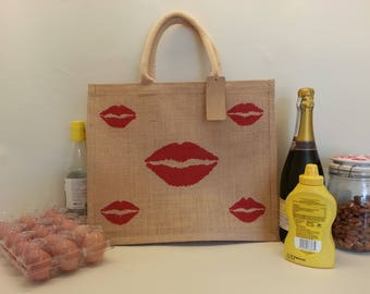 Red Lips reusuable large shopping bag