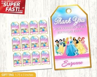 Princess Thank You Tag PRINTABLE, Princess Favor Tags, Princess Gift Tag, Princess Birthday Tags, Princess Label, Princess Party Tag, v1