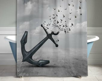 Birds Flying Gray Anchor Shower Curtain Abstract Art Bathroom Decor Home  Decor