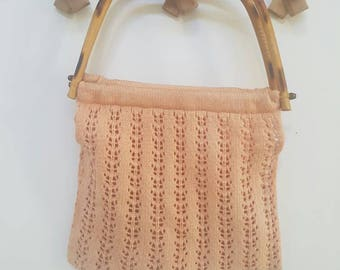 Vintage Peach Knitted Bag // Macrame Cotton Purse with Bamboo Handles