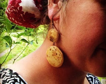 Wood dangles, Natural earrings