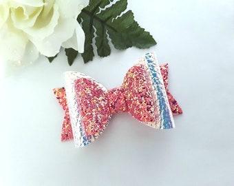 Girls Mermaid Bow, Glitter Bows, Mermaid Hair Bow, Iridescent Hair Clip, Baby Headbands, Hair Clips, Pink Bow, Purple Bow, Mermaids