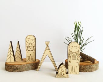 Camping Club wooden puzzle tin toy, wooden pocket toys, kids decor, Scandinavian style wooden puzzle in a tin