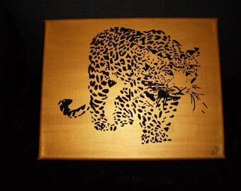 """Canvas """"Leopard"""" black and gold colors"""
