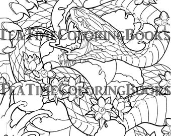tattoo coloring page snake japanese snake adult coloring - Tattoo Coloring Books