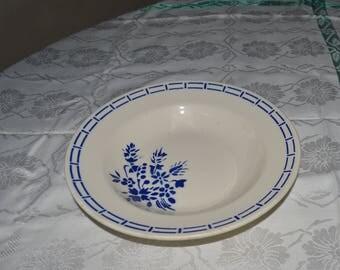 French Badonviller Blue pattern soup dish