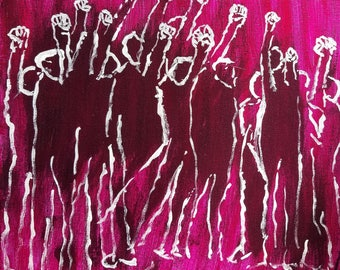"""Original Artwork, acrylic painting, """"Rise Up"""" 12"""" by 12"""" canvas."""