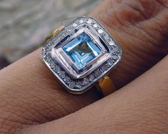 1.12 CT Gemstone Real White DIAMOND, Blue Topaz Sterling Silver & Yellow GOLD Plated Ring, Diamond Ring, Real White Diamond