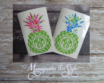Lilly Pulitzer Inspired Pineapple Decal, Yeti Decal, Monogram Decal, Pineapple Decal, Pineapple Decal Yeti,Pineapple Monogram,Lilly Pulitzer