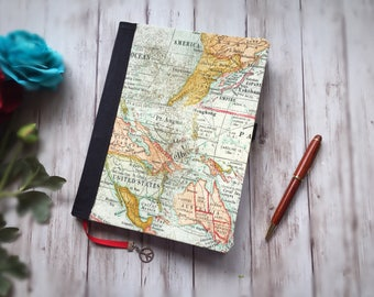 Travel Diary — Travel Journal — Gift — Fabric Covered Book — Blank Grid Journal — Blank Notebook — Blank Planner — Personal Journal