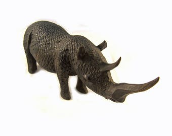 Old African Hand Carved Wooden Rhinoseros Figurine Vintage Wood Rhino Figure Carving