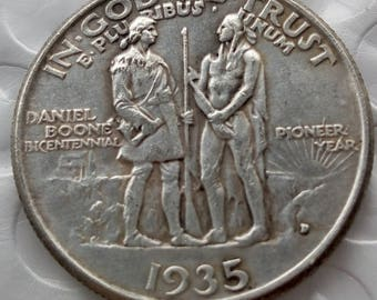 1935 Daniel Boone Bicentennial Half Dollar Struck 90% Fine Silver Coin ships 1 day