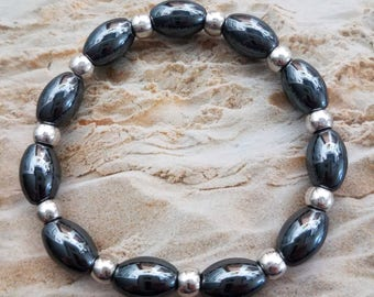 Handmade Magnetic Hematite Stretchy Bracelet with Silver Spacers on a Strong Stretchy Cord