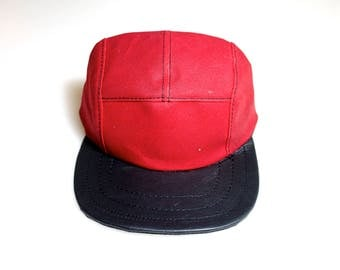 5 panel camp hat | baseball hat | for him | mens headwear | hand made waxed canvas | black leather | leather | waxed canvas | canvas |