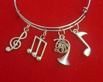 French Horn Themed Charm Bracelet