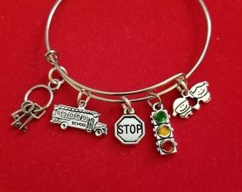 Silver School Bus Driver Charm Bracelet