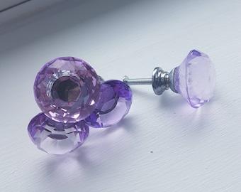 Lilac  Crystal Glass Drawer Knobs/Handles